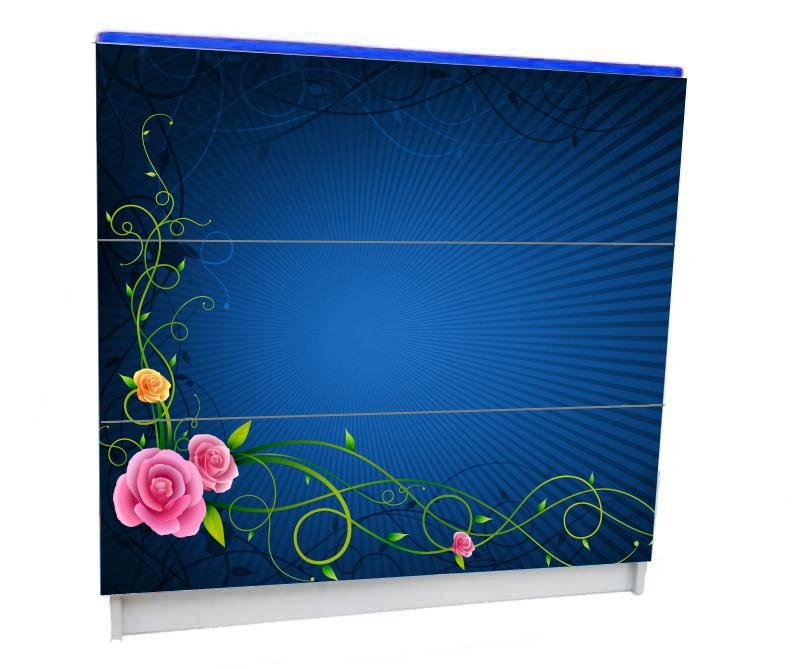 детский комод на 3 ящика синий с цветами
