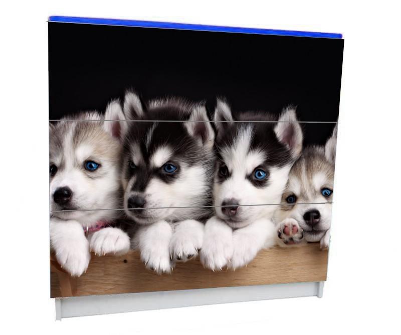 детский комод на 3 ящика с собачками хаски