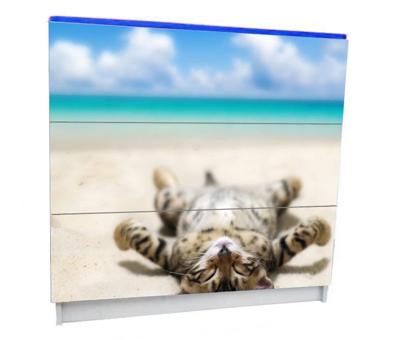 детский комод на 3 ящика котик на пляже