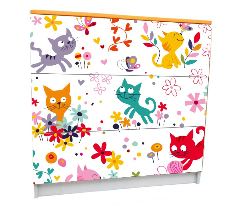 детский комод на 3 ящика котики мульт