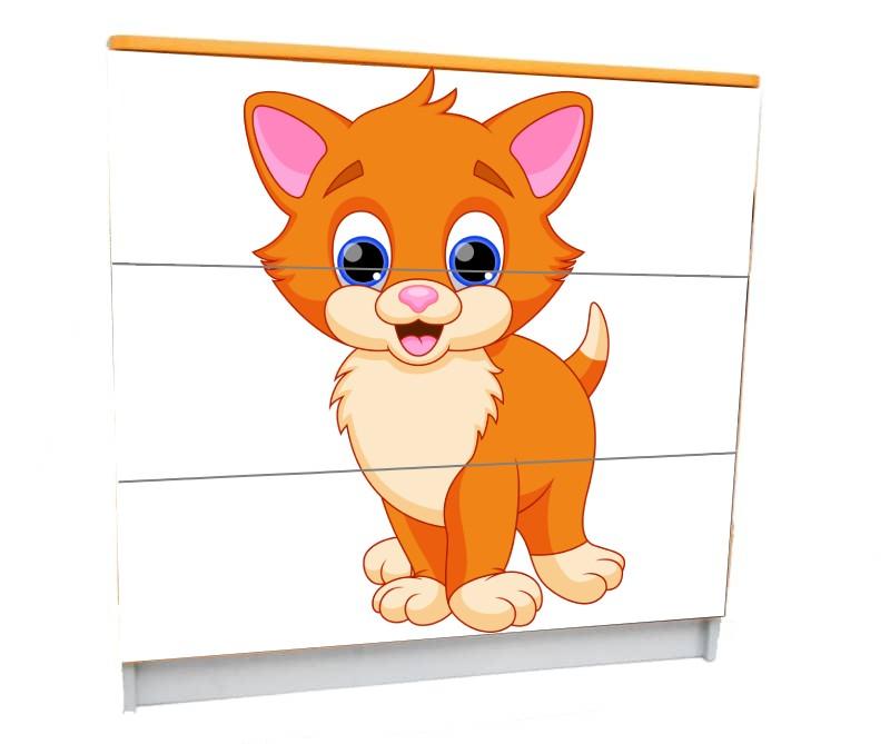 детский комод на 3 ящика котик мульт