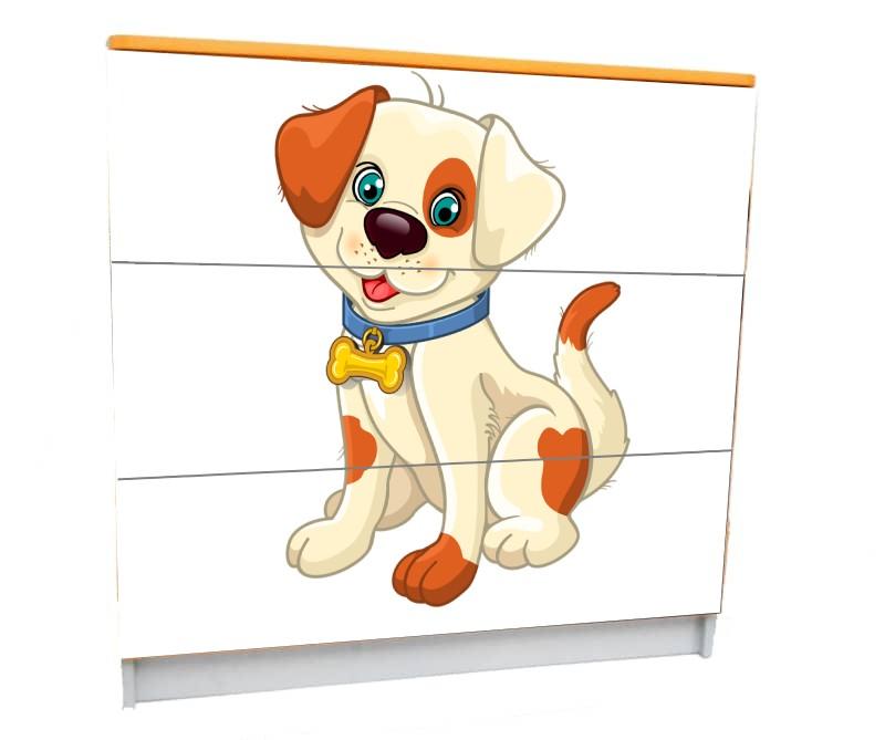 детский комод на 3 ящика собачка мультяшная