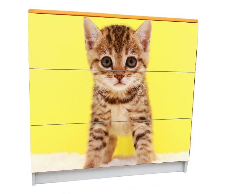 детский комод на 3 ящика котенок рыжий