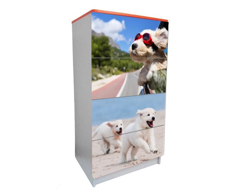 детский комод на 4 ящика собачка
