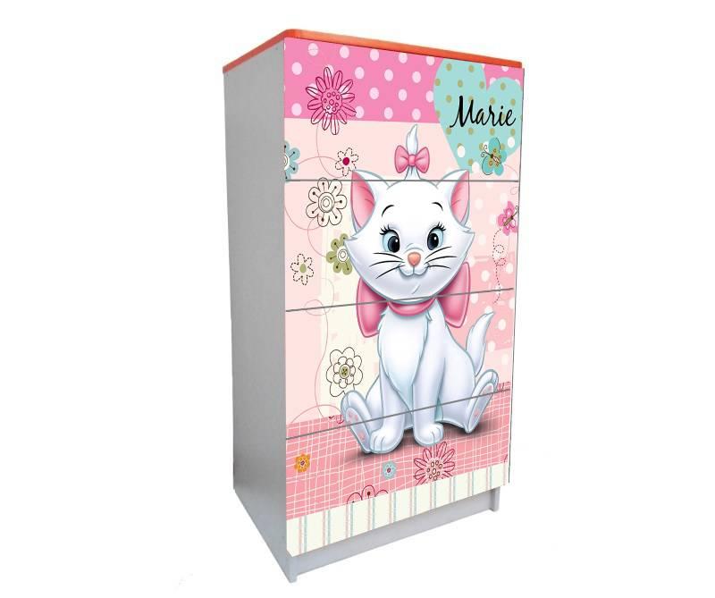 детский комод на 4 ящика розовый кошечка мэри