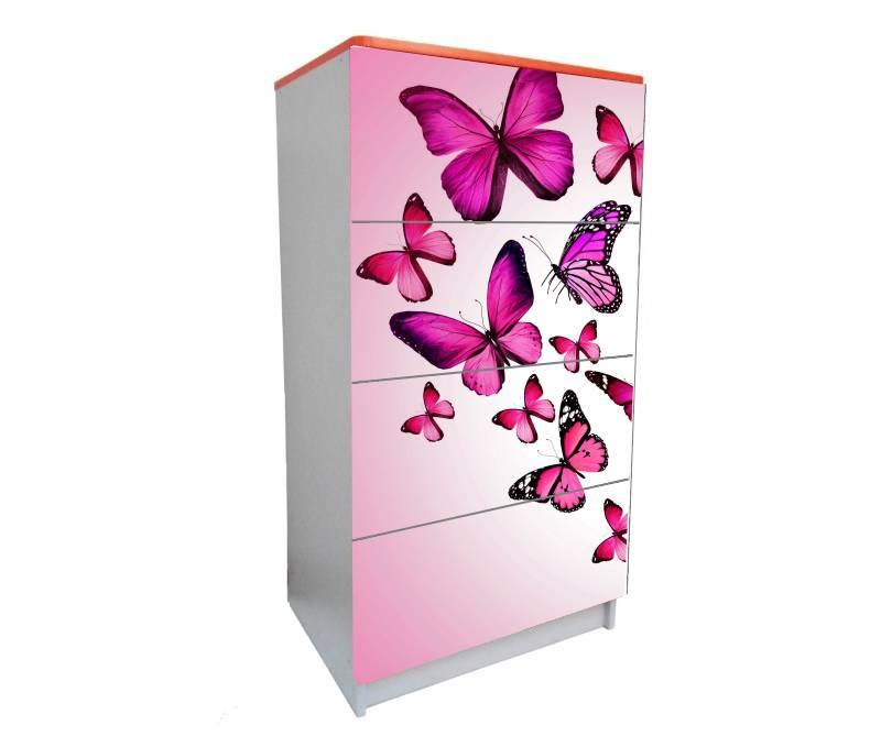 детский комод на 4 ящика розовые бабочки