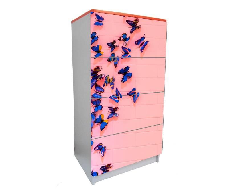 детский комод на 4 ящика бабочки розовые