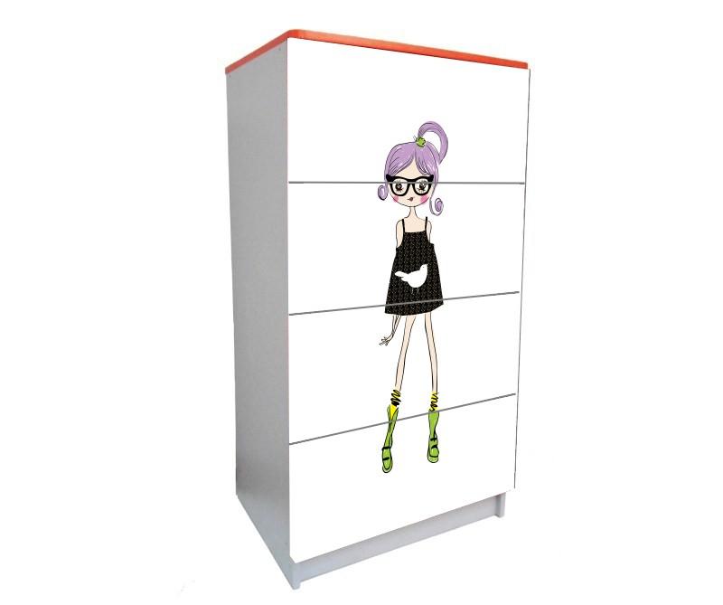 детский комод на 4 ящика гламурная девочка