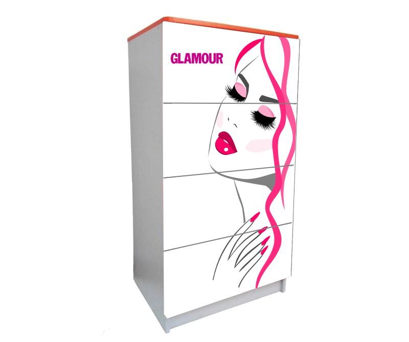 детский комод на 4 ящика для девочки гламур белый
