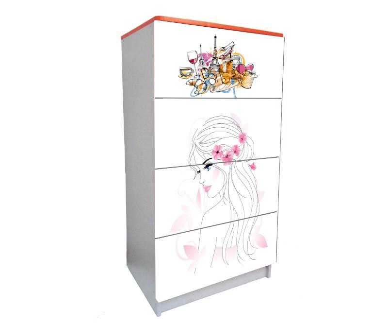 детский комод на 4 ящика гламурная девушка