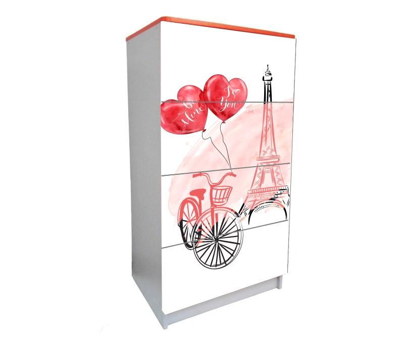 детский комод на 4 ящика эйфелева башня с сердцами