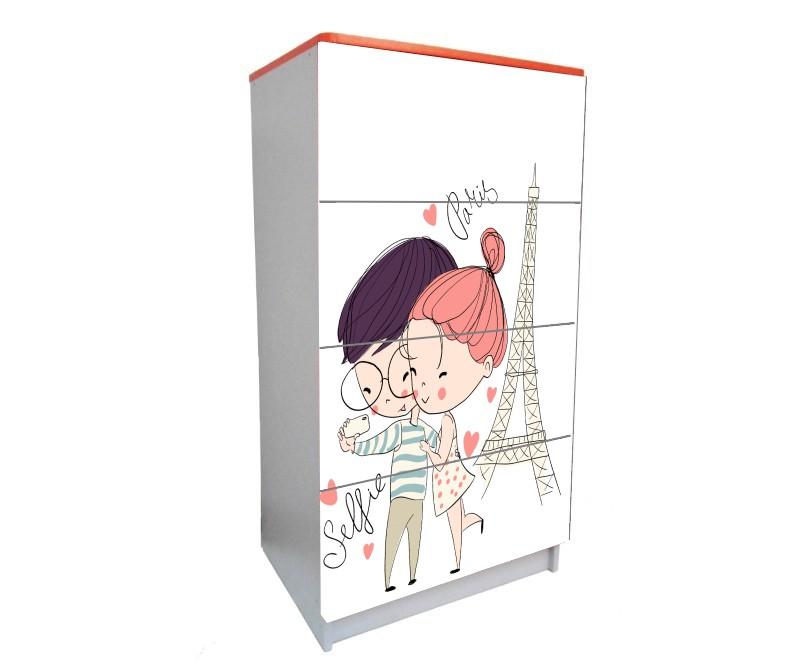 детский комод на 4 ящика париж влюбленные
