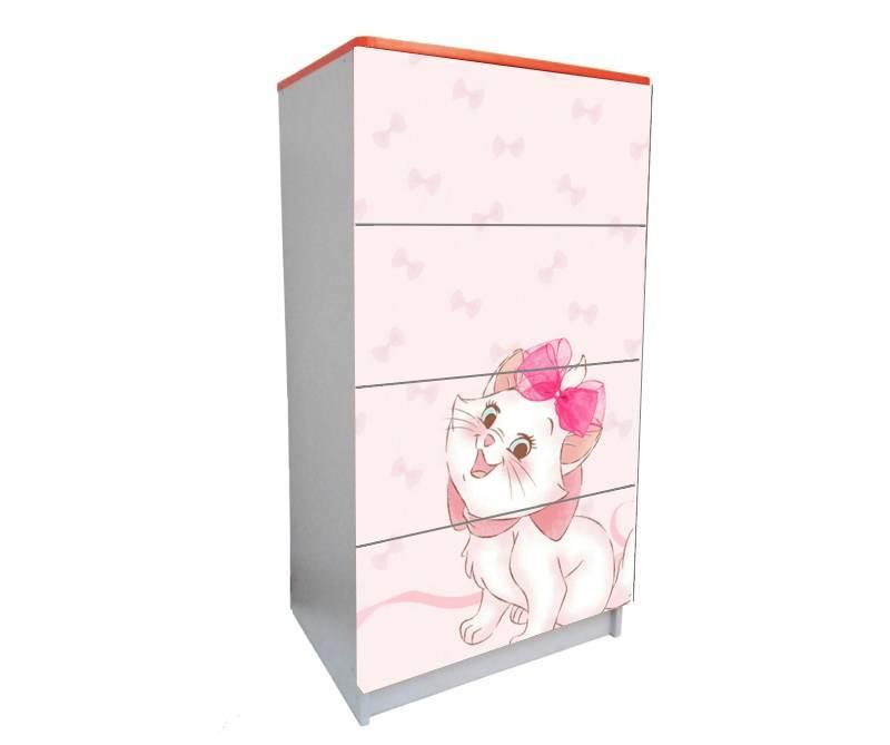 детский комод на 4 ящика мэри розовый