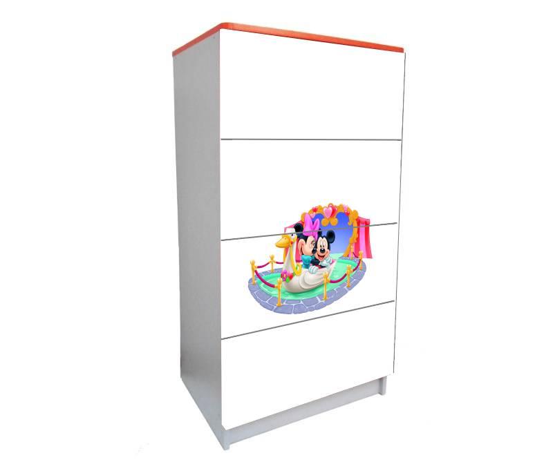 детский комод на 4 ящика минни белый