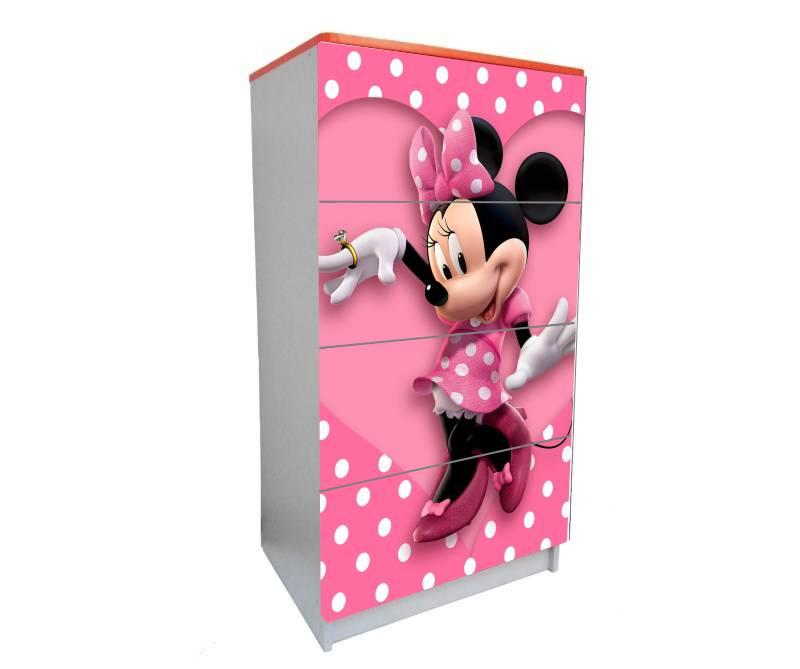 детский комод на 4 ящика минни маус розовый