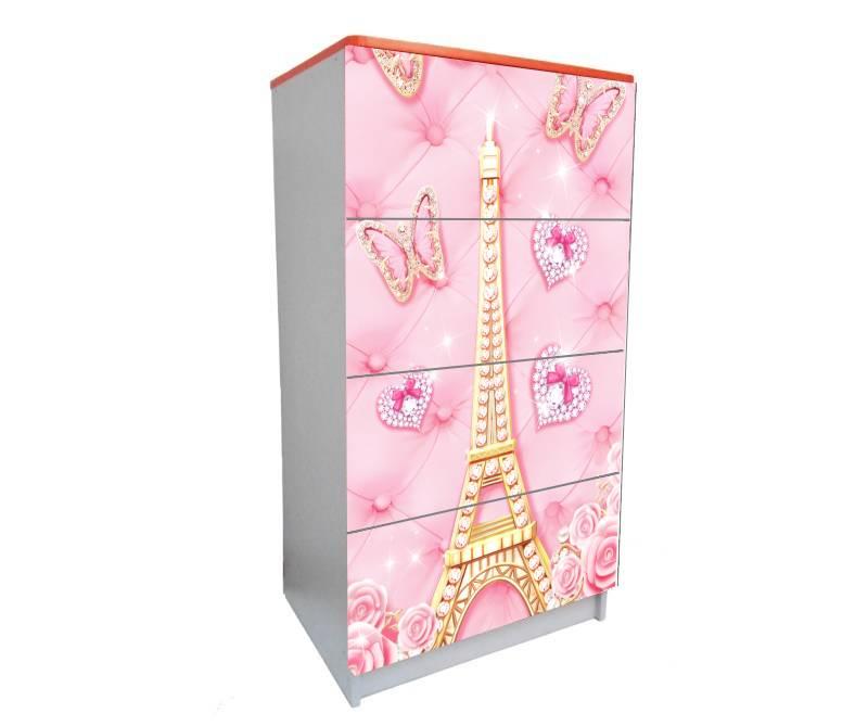 детский комод на 4 ящика розовый париж