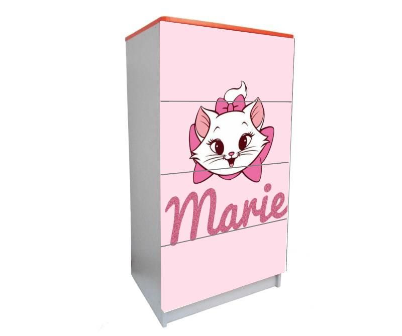 детский комод на 4 ящика кошка мэри розовый