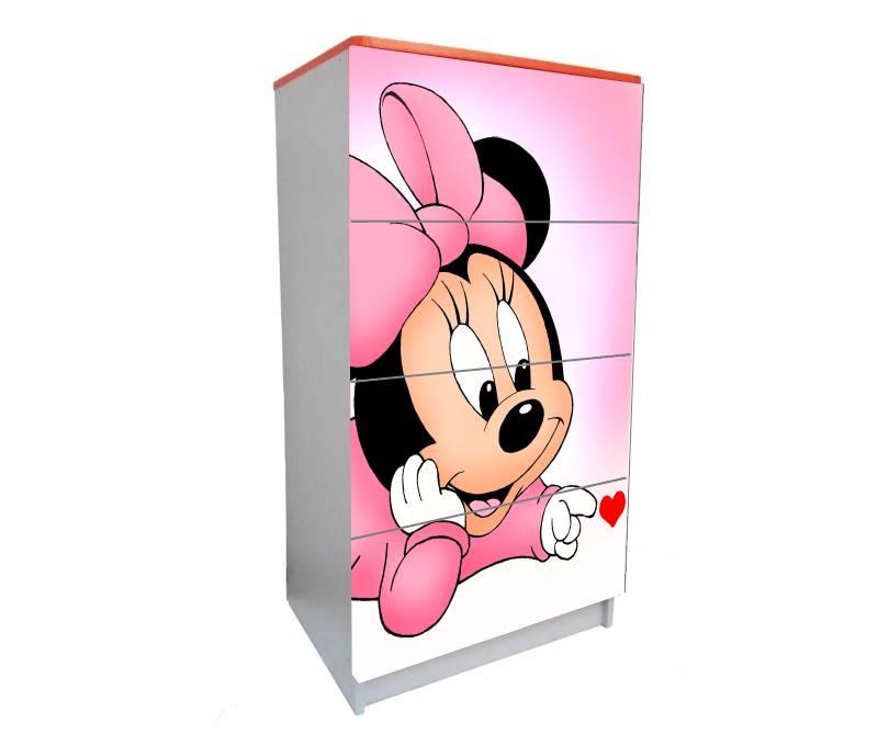 детский комод на 4 ящика минни маус