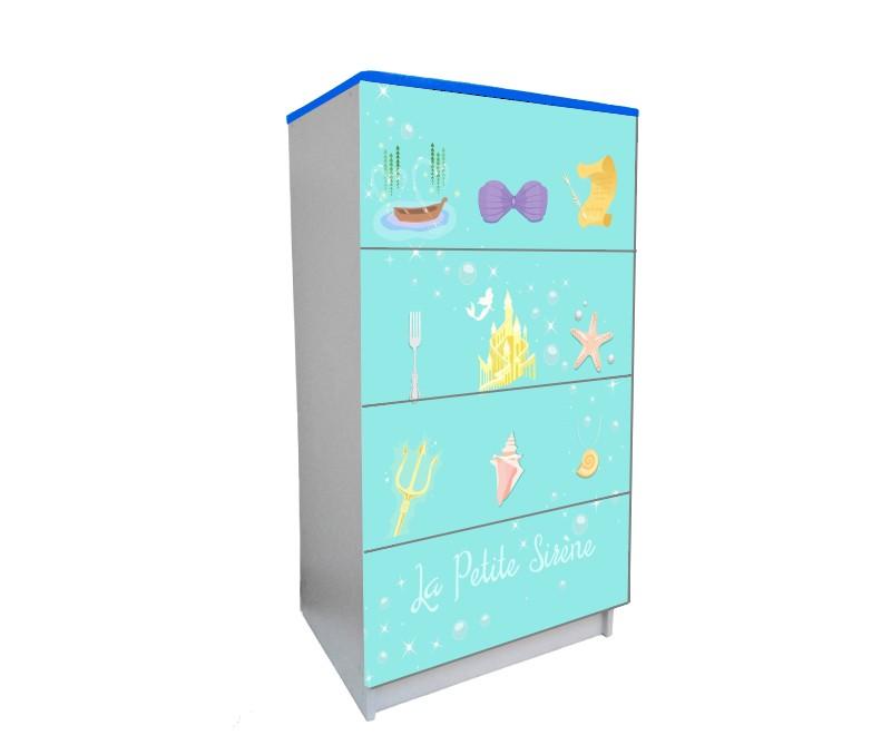 детский комод на 4 ящика русалочка мультик