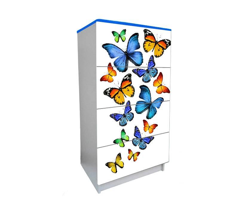 детский комод на 4 ящика бабочки