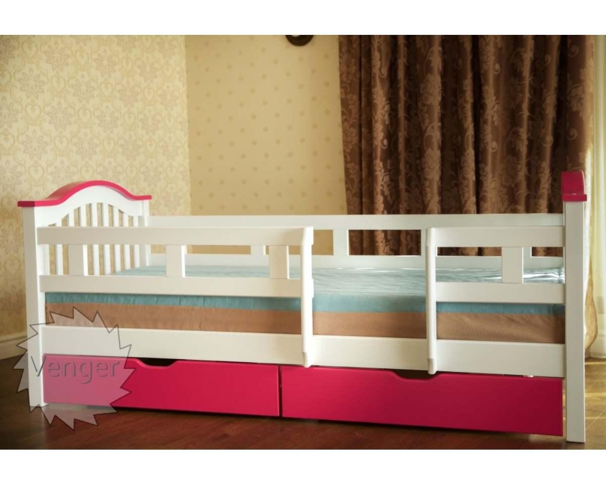 детская розовая кровать из ольхи максим с бортиками