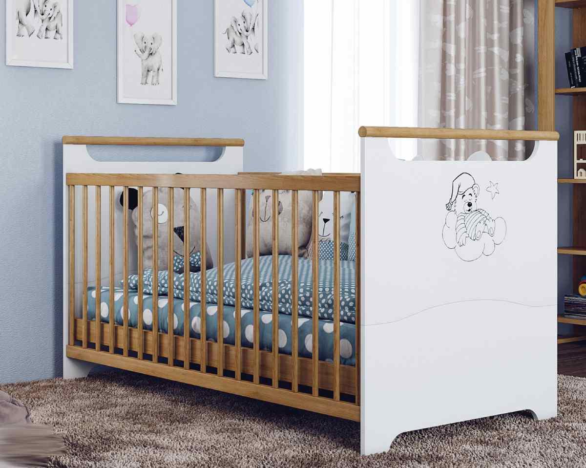 детская кроватка трансформер для новорожденных белая медвежонок