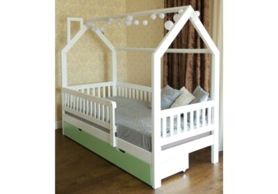 кроватка домик с бортиками и ящиком