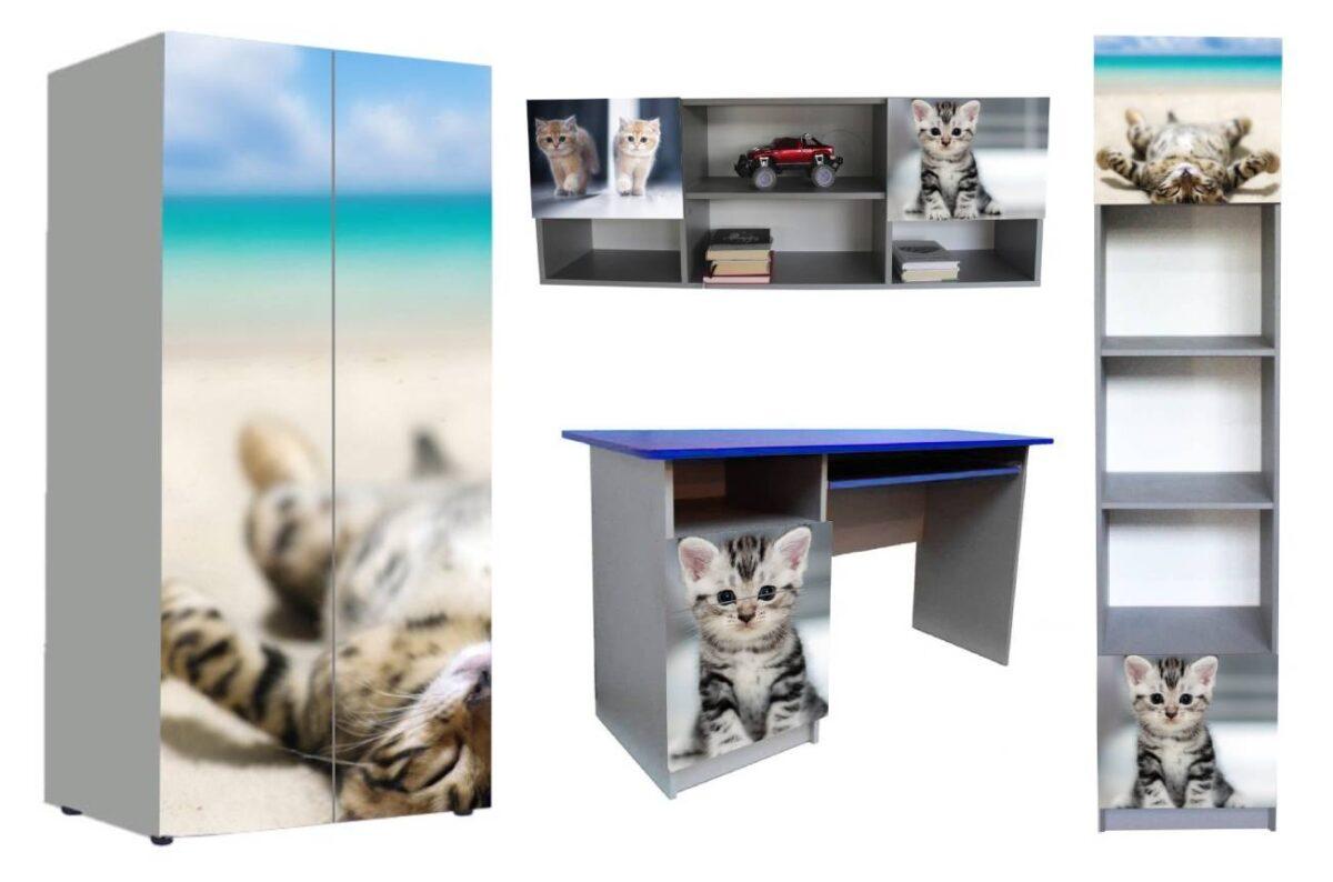 детская мебель в 1 стиле котики