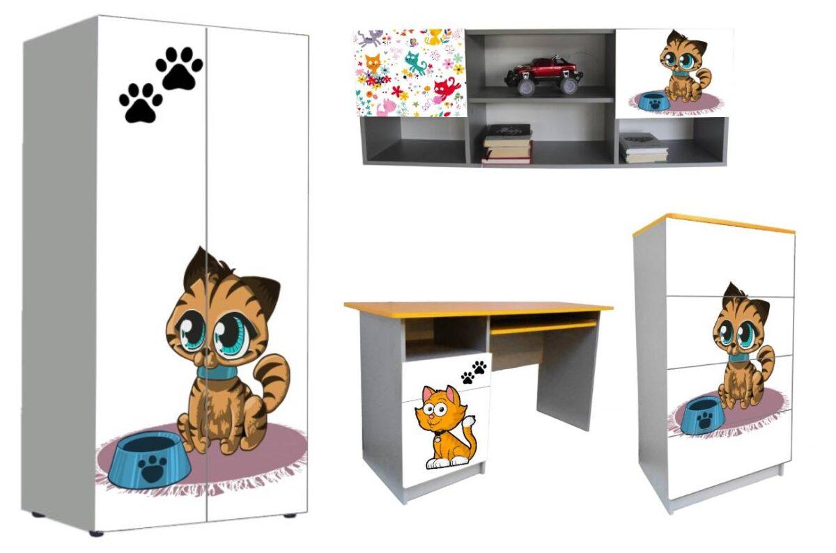 детская мебель в 1 стиле котики мультяшные