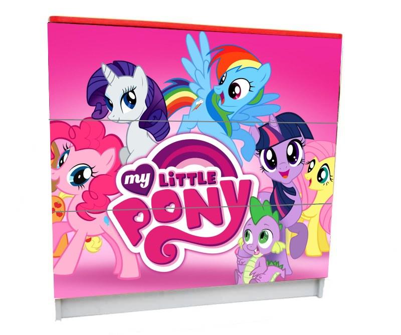 детский комод на 3 ящика my little pony розовый