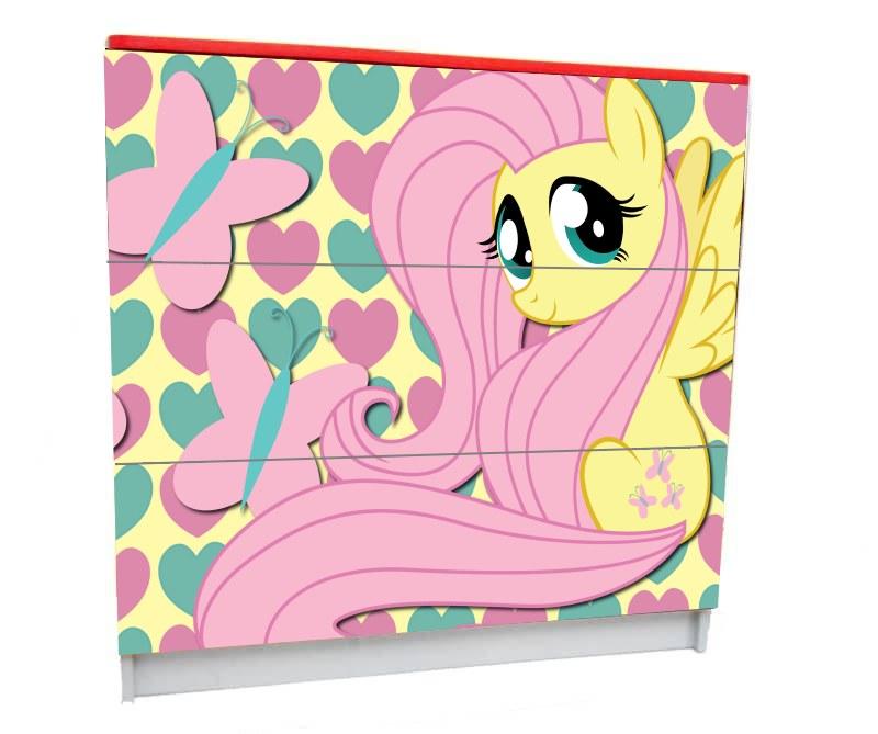 детский комод на 3 ящика розовый pony