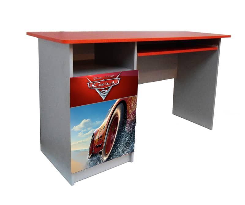 красный письменный детский стол тачки гонщик