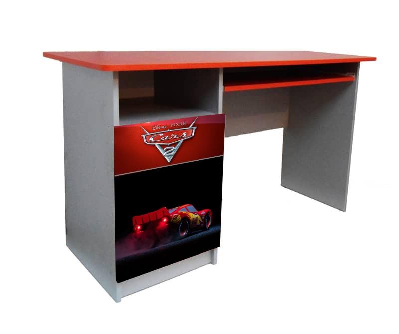 красный письменный детский стол тачки черные