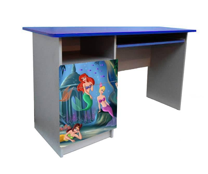 письменный стол для девочки русалочка синий