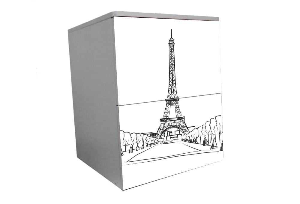 детская тумбочка на 2 ящика париж башня