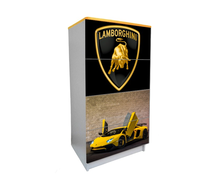 желтый комод на 4 ящика ламбо-двери желтый с черным