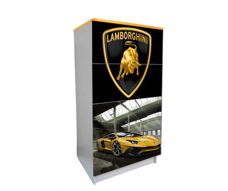 желтый детский комод ламбо 4 ящика черный логотип