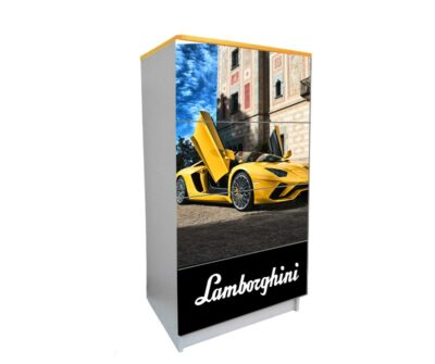 желтый комод на 4 ящика ламбо-двери