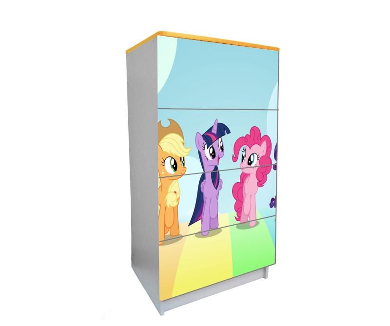 детский комод на 4 ящика пони розовый с голубым