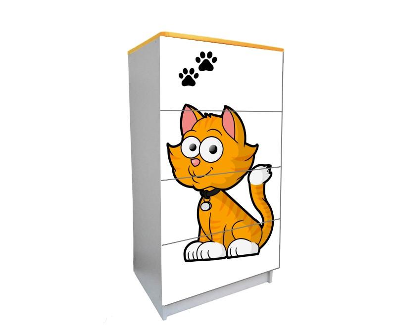 детский комод на 4 ящика котик мультяшка