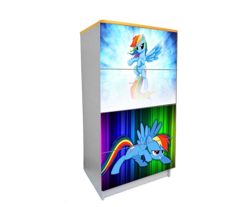 детский комод на 4 ящика пони голубой синий