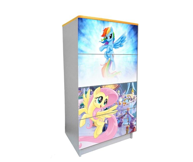 детский комод на 4 ящика пони голубой