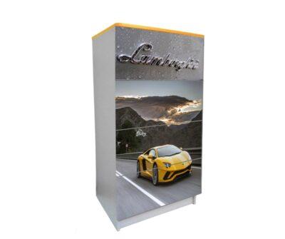 детский комод на 4 ящика ламборджини серый с желтым