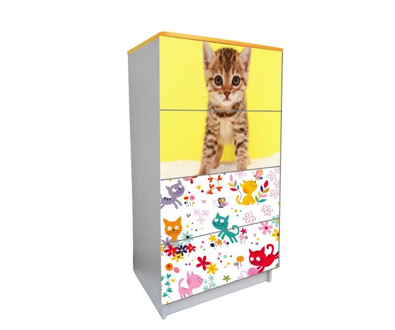 детский комод на 4 ящика котик рыжий