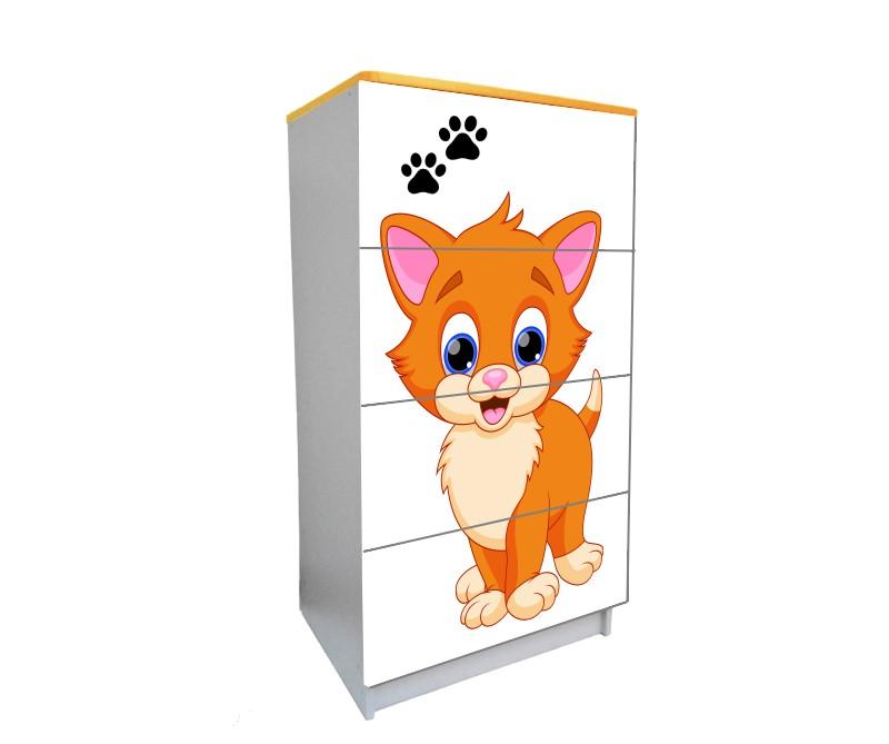 детский комод на 4 ящика мульт котик