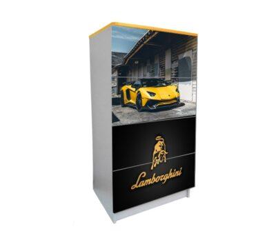 желтый комод на 4 ящика желтый ламбо черный логотип