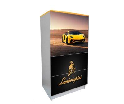 желтый комод на 4 ящика ламбо черный логотип