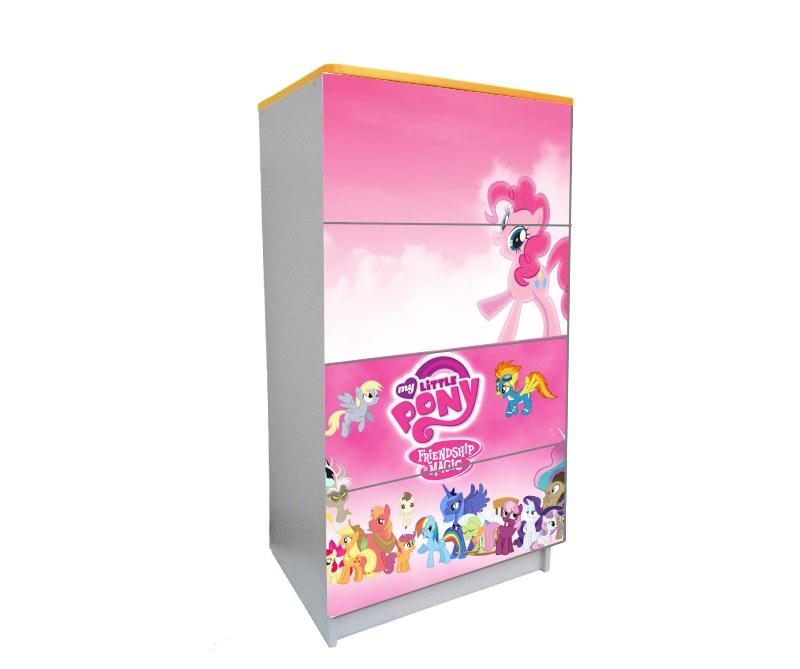 детский комод на 4 ящика пони розовый