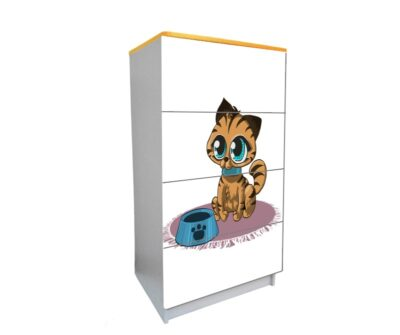 дитячий комод на 4 шухляди мультяшний котик