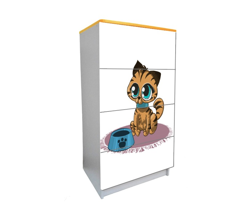 детский комод на 4 ящика мультяшный котик